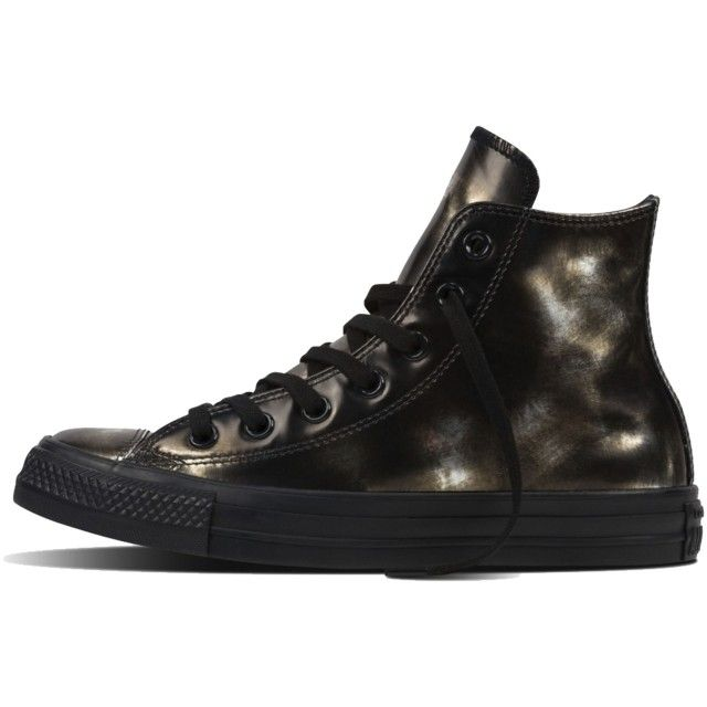 All Star Hi Brush Off Leather Black Met